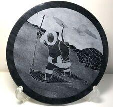 "9"" D Inuit Art by SIKU Original Marble Relief Sculpture Round"