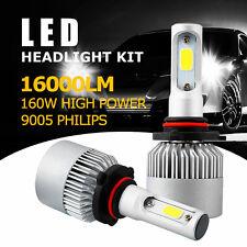 2x Philips 160W 16000LM HB3 9005 COB LED Headlight Bulb 6500K Single White Beam