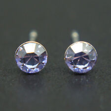 14k white Gold plated simulated Diamond purple stud men women unisex earrings
