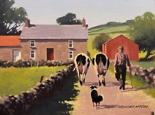 "IRISH ART - ORIGINAL PAINTING ""MILKING TIME"" BY GREGORY MOORE. IRELAND"