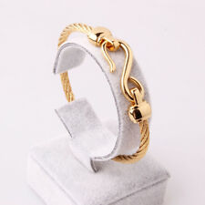 Stainless Steel Gold Tone Distorted Cable Chain Cuff Bangle Womens Mens Bracelet