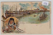 154, MB Litho Gruss aus Geestemünde Fischerei Hafen tolle Karte !