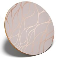 1 x Rose Gold Marble Effect Cool - Round Coaster Kitchen Student Kids Gift #2452