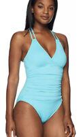 La Blanca Blue Double Strap Back One Piece Swimsuit Women's Size 2 16406 New Wi