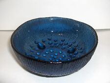 VTG LONDON COBALT BLUE HOBNAIL ROUND RIBBED FOOTED CANDY DISH BOWL - MINT!