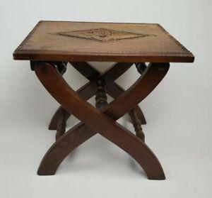 Old Charm Wood Bros England Ware Herts Oak Tudor Folding Stool / Table 1960s