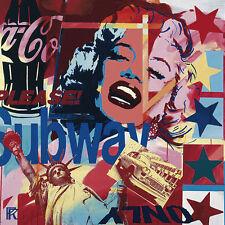 Paul Raynal: Only Fertig-Bild 50x50 Wandbild Collage Marilyn Kult Pop