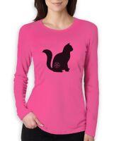 Halloween Cat Pentagram Cat Lover Gift Women Long Sleeve T-Shirt