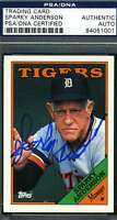 SPARKY ANDERSON PSA DNA COA Autographed 1988 TOPPS Authentic Hand Signed