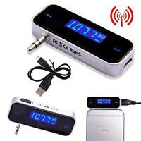 Wireless Music to Car Radio Transmitter FM For 3.5mm MP3 iPod iPhone Tablets New