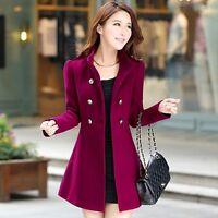 Women Korean Long Coat Jacket Windbreaker Slim Outwear Winter Parka New S-XXL