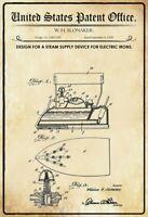 US Brevet Fer à Repasser Fer 1928 Panneau Métallique Plaque Voûté Étain Signer