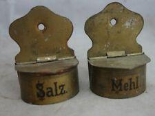 alte Blech Vorratsgefäße Salz + Mehl für Puppenstube