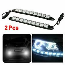 2 X 12V Bright Ice Blue 9 LED Chrome Housing Daytime Running Lights Fog Lamps