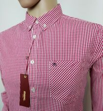 """Merc London Mens Shirt Oxford Red Gingham Check Size M Chest 40"""" New With Tags"""