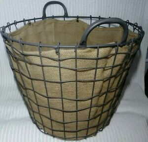 """Wire Laundry Basket Handles Burlap Lined Farmhouse Country 15"""" Tall Metal Rustic"""