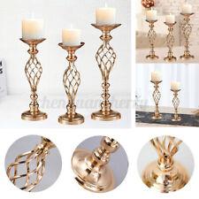 Candle Tea Light Holder Wedding Flower Vase Gold Metal Candlestick Table Decor