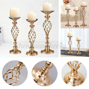 Candle Tea Light Holder Wedding Flower Vase Gold Metal Candlestick Table Decor