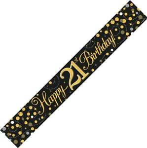 9ft Black & Gold Happy 21st Birthday Foil Banner Age 21 Party Decorations