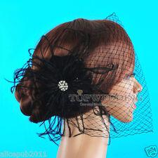 Black Feather Flower Rhinestone Bridal Birdcage Veil Wedding Blusher Fascinator