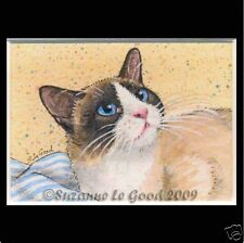 Snowshoe Cat art print ACEO mounted from original painting by Suzanne Le Good
