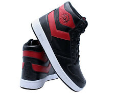PONY Men's CITY WINGS HIGH Top Sneaker Leather Shoes In Black And Red Size 9.5