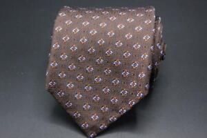 NWT $115 ROBERT TALBOTT Silk Tie. Brown with Blue & Brown Floral.