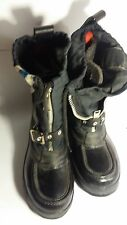 KIDS BLACK BOOT. SIZE 4. WITH STRIPE FROM KOREA. PLASTIC & CANVAS. NEW W/OUT TAG
