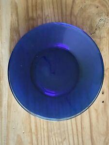 """Set of 3 Vintage Cobalt Blue 8"""" Inch Plates Salad Dessert Plates Dishes"""