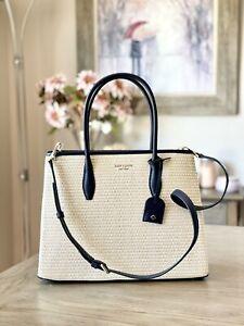 Kate Spade New York Eva Straw Medium Top Zip Satchel Handbag Nightcap