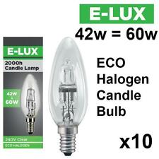 10 X E-LUX E14 SES HALOGEN ENERGY SAVING DIMMABLE CANDLE LIGHT BULB 42W = 60W