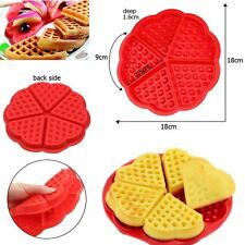 Silicone Waffles Pan Cake Baking Baked Muffin Cake Chocolate Mould Tray (Red)