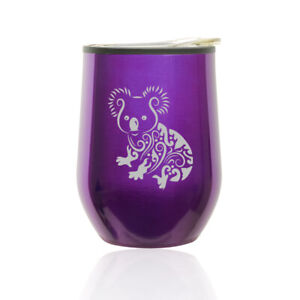 Stemless Wine Tumbler Coffee Travel Mug Glass Cup w/ Lid Fancy Koala Bear