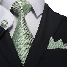 Men's Green Small Grid 100% Silk Neck Tie Set Cufflinks & handkerchief 18A68