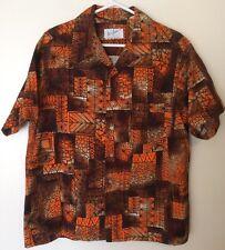 Vtg Don Loper Duke Of Hollywood ORANGE BROWN bark Cloth Hawaiian Shirt Mens XL