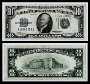 1934-A $10 SILVER CERTIFICATE NOTE~~VERY FINE