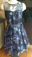 Eliza J Blue & Gray Floral Sleeveless Layered Rhinestone Waist Dress Size 4