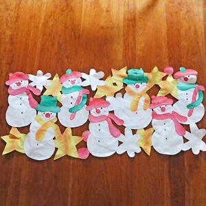 Christmas Table Runner Embroidered Appliqué White Snowman
