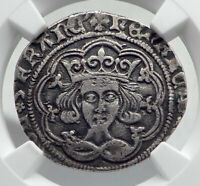 1430AD GREAT BRITAIN UK King HENRY VI Silver Fourpence Groat Coin NGC i80916