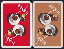 2 Single VINTAGE Swap/Playing Cards ADV BOVRIL JARS + STEAMING CUPS Reversible