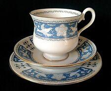 8849d9d64d5 ROYAL ALBERT TUDOR ROSE TEA TRIO BONE CHINA TEACUP SAUCER SIDE PLATE BLUE    GREY