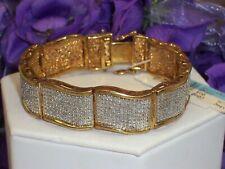 Flashy Gold on Bronze 2 Ct Pave Diamond Wide Link Bracelet
