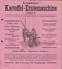 """Werbung: Liste Nr. 88 um 1930 für Einspänner-Kartoffel-Erntemaschine """"Modell E"""""""