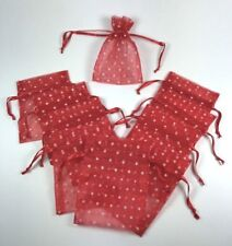 "Drawstring Pouch Red - White Dots Party Wedding Gift Bag 3"" x 4"" Nylon Pkg of 10"