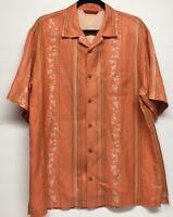 Tommy Bahama Hawaiian Shirt Mens Medium Short Sleeve Silk Orange Tropical EUC