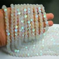 Mystic Aura Quartz Gemstone Loose Beads 6mm Holographic Matte Bracelet Necklace