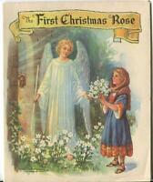 VINTAGE CHRISTMAS ANGEL GARDEN ROSES SHEEP SHEPHERD FLOWERS GIRL GREETING CARD
