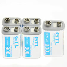 5 pcs Durable 9V 9 Volt 900mAh Power Ni-Mh Rechargeable Battery Cell PPS block