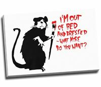 """Banksy Graffiti Art Canvas Print Out of Bed Canvas Print Large A1 30x20"""""""