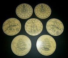 Vintage Faux Scrimshaw Nautical Coasters by MC Artek Save the Whale Series